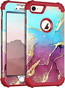 Rancase for iPhone 8 Case iPhone 7 Case,Three Layer Heavy Duty Shockproof Protection Hard Plastic Bumper +Soft Silicone Rubber Protective Case for Apple iPhone 8/7,Blue/Red
