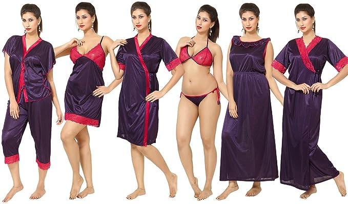 Go Glam Women s Night Suit Dark Purple  Amazon.in  Clothing ... c9479ffe4
