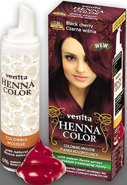 Venita Henna Color Mousse Espuma de Tinte para el Cabello con Extracto Natural de la Alheña. Paquete especial. Negro Cereza (Black Cherry) № 18
