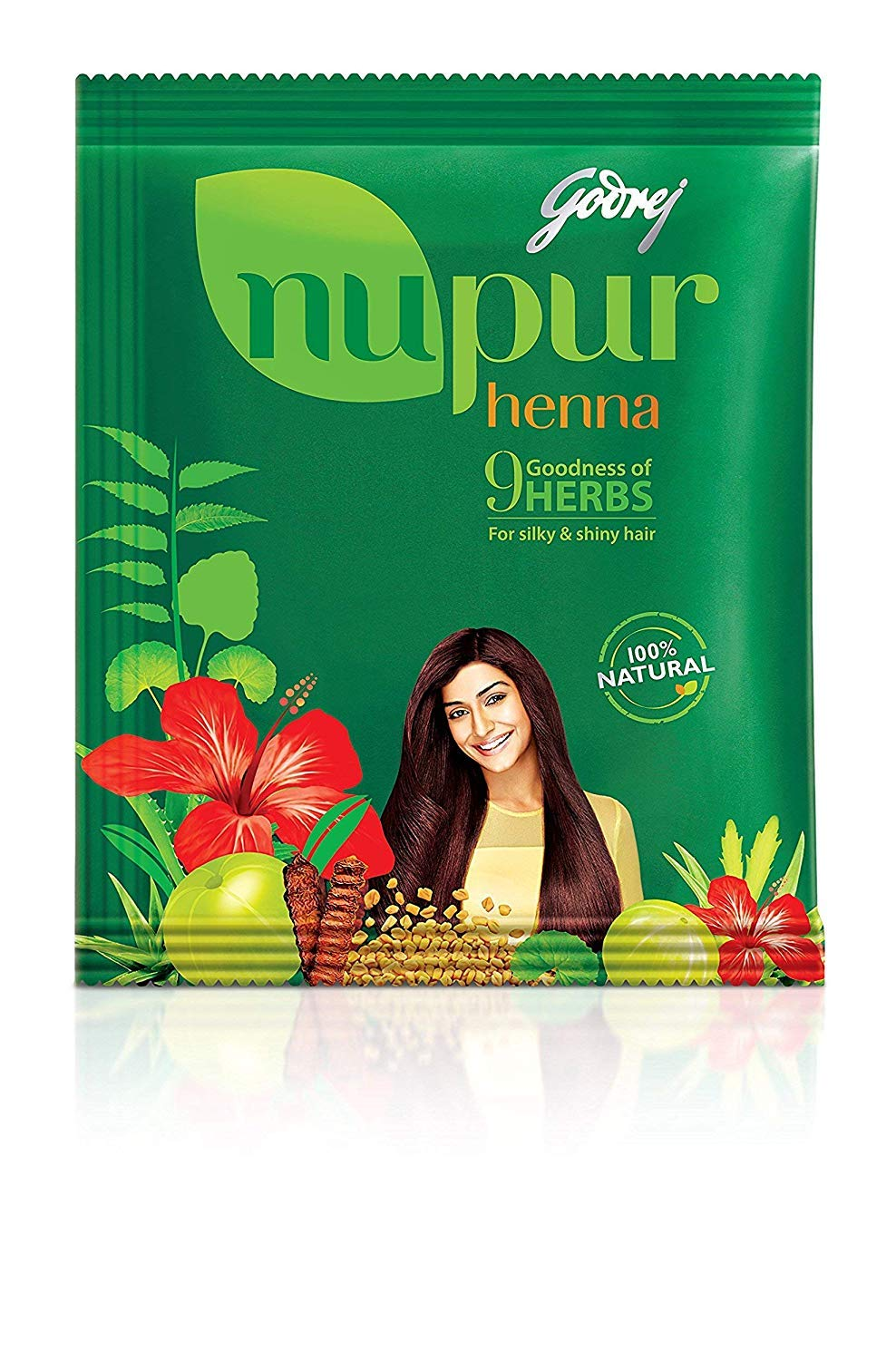 Godrej Nupur Henna Natural Mehndi for Hair Color with Goodness of 9 Herbs 120gram X 3Packs by NUPUR