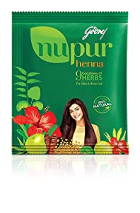 Godrej Nupur Henna Natural Mehndi for Hair Color with Goodness of 9 Herbs 120gram X 3Packs