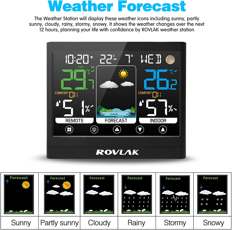 Data Monitor Temperatura umidit/à Tempo ROVLAK Stazione Meteorologica Meteo con Sensore Esterno LCD Display a Colori Termometro Igrometro Esterna Interna per Previsione di Tempo Snooze Sveglia