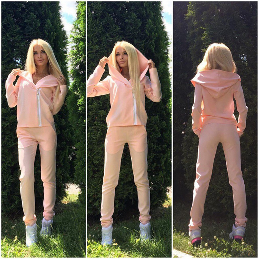 Meolin Women's Women's Long Sleeve Hoodie Pullover + Pants Outfits Set Sweatsuits Set Tracksuits ,Pink,L