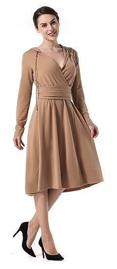 La Vogue Womens Hoodie Long Sleeve Drawstring Waistband A-line Midi Work Dress UK8/