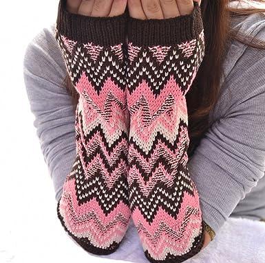 Amazon Megko Women Colorful Fingerless Gloves Knitting Pattern