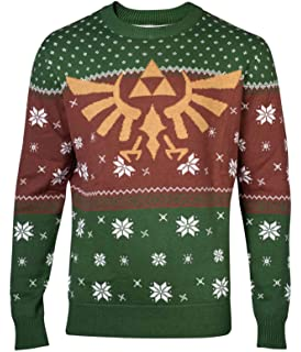 Nintendo Merch Zelda Christmas Jumper Sweater Golden Hyrule Logo Nouveau  Officiel Homme Knitted 093bf514516