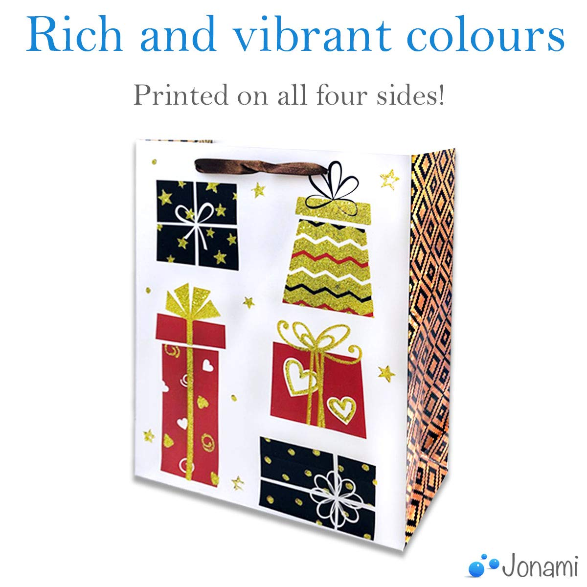Buste Regalo per Natale Taglia Large Borse e Scatole di Carta per Doni di Natale o Carta Regalo 8 Pezzi Sacchetti Regalo in 4 Design Natalizi 32x26x10cm