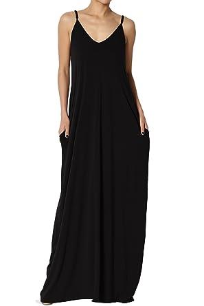 62fa46de4f2 TheMogan Women s V-Neck Draped Jersey Cami Long Maxi Dress with Pocket  Black S