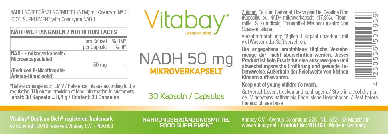 NADH 50 mg (contenido elemental) - microencapsulado - dosis ...