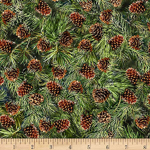 Timeless Treasures Saddle River Pine Cone Pine Fabric Fabric by the Yard