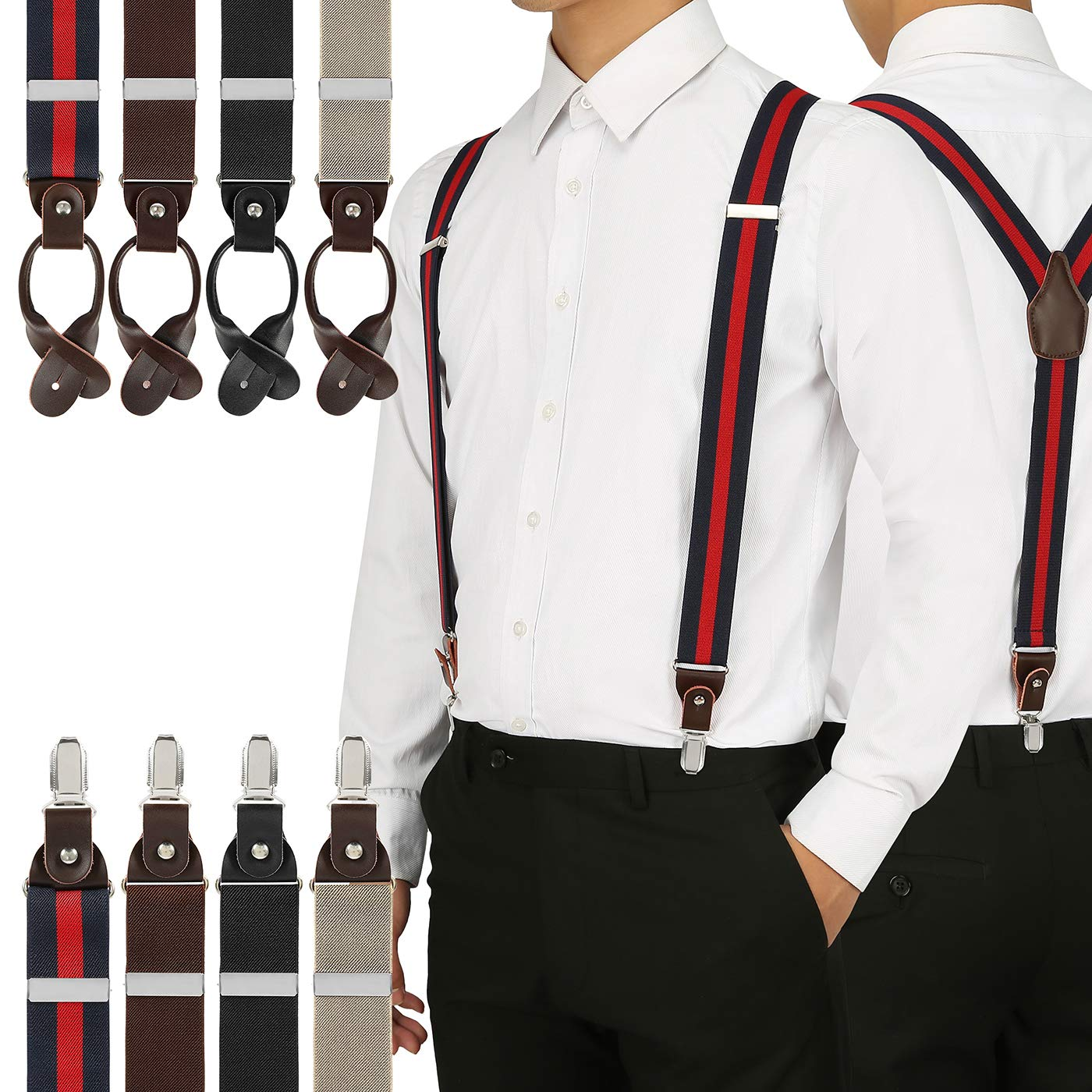 Button End Heavy Duty Metal Clip HDE Mens Suspenders Tuxedo Y-Back Pant Braces