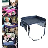 Car Tray Table For Kids Waterproof Adjustable Safety Belt Drawing Board Buggy Travel Pushchair Childrens Car Trays With Pockets Blue