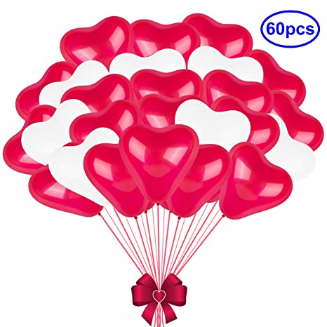 Love Heart Shaped Latex Balloons Red White Balloons Air