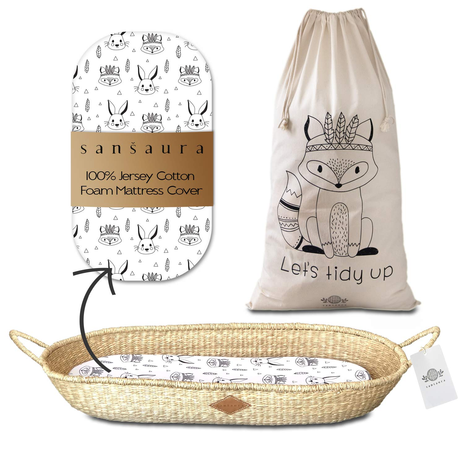 Wild Woodland Baby Changing Basket - Waterproof Foam Pad - with Cotton Fitted Sheet and Matching Toy Storage Bag - Changing Table Topper - Made by Sansaura