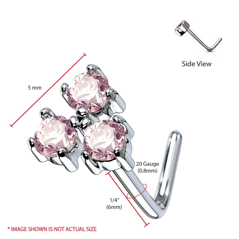 BodyJ4You 3PCS 20G Nose Ring L Shape Stud CZ Surgical Steel Nostril