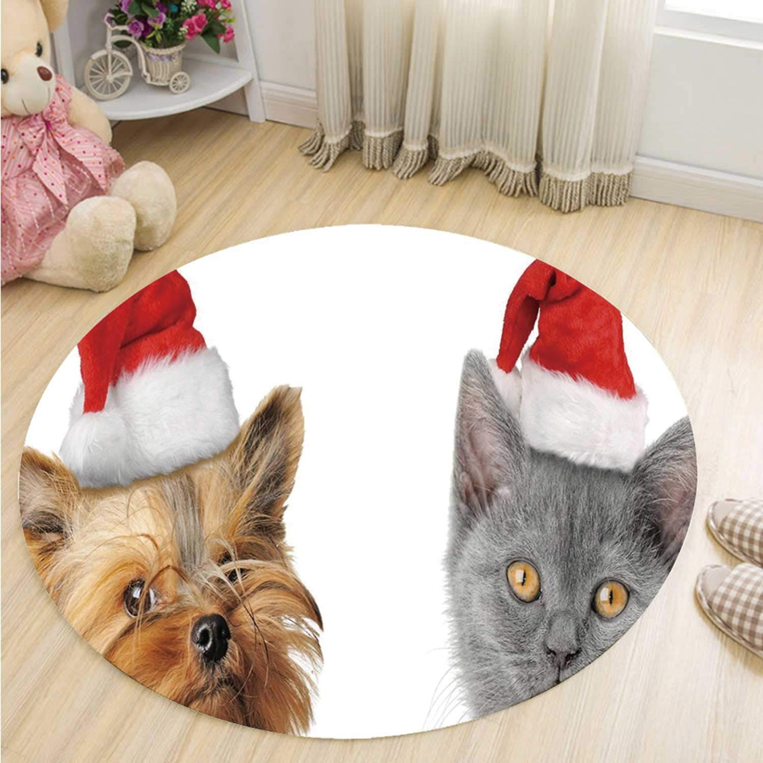 MOOCOM Christmas Non Slip Round Mat,Adorable Cat and Dog with Xmas Hats Domestic Pet Animals Holiday Celebration Decorative for Office,51''R by MOOCOM