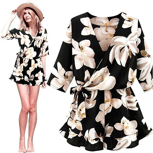 fe1a6fb8e24 Women s Wrap V Neck Front Floral Print Romper Shorts Jumpsuit Short Sleeve  Playsuit Plus Size (