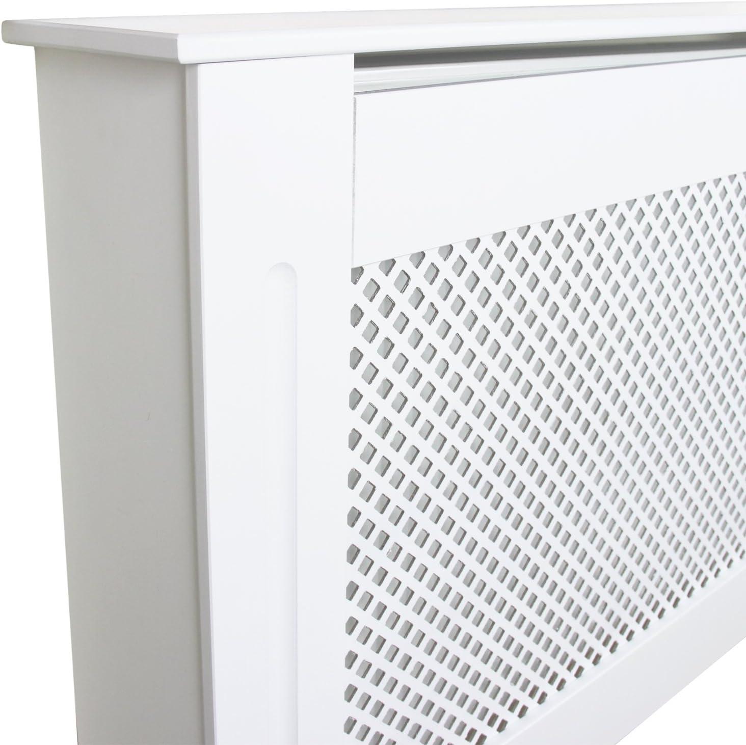 Cache Radiateur /à Motif Grillag/é Ajustable 140cm /à 192cm de Large x 82cm de Haut x 20,5cm de Profondeuren MDF Blanc D/écoration Maison