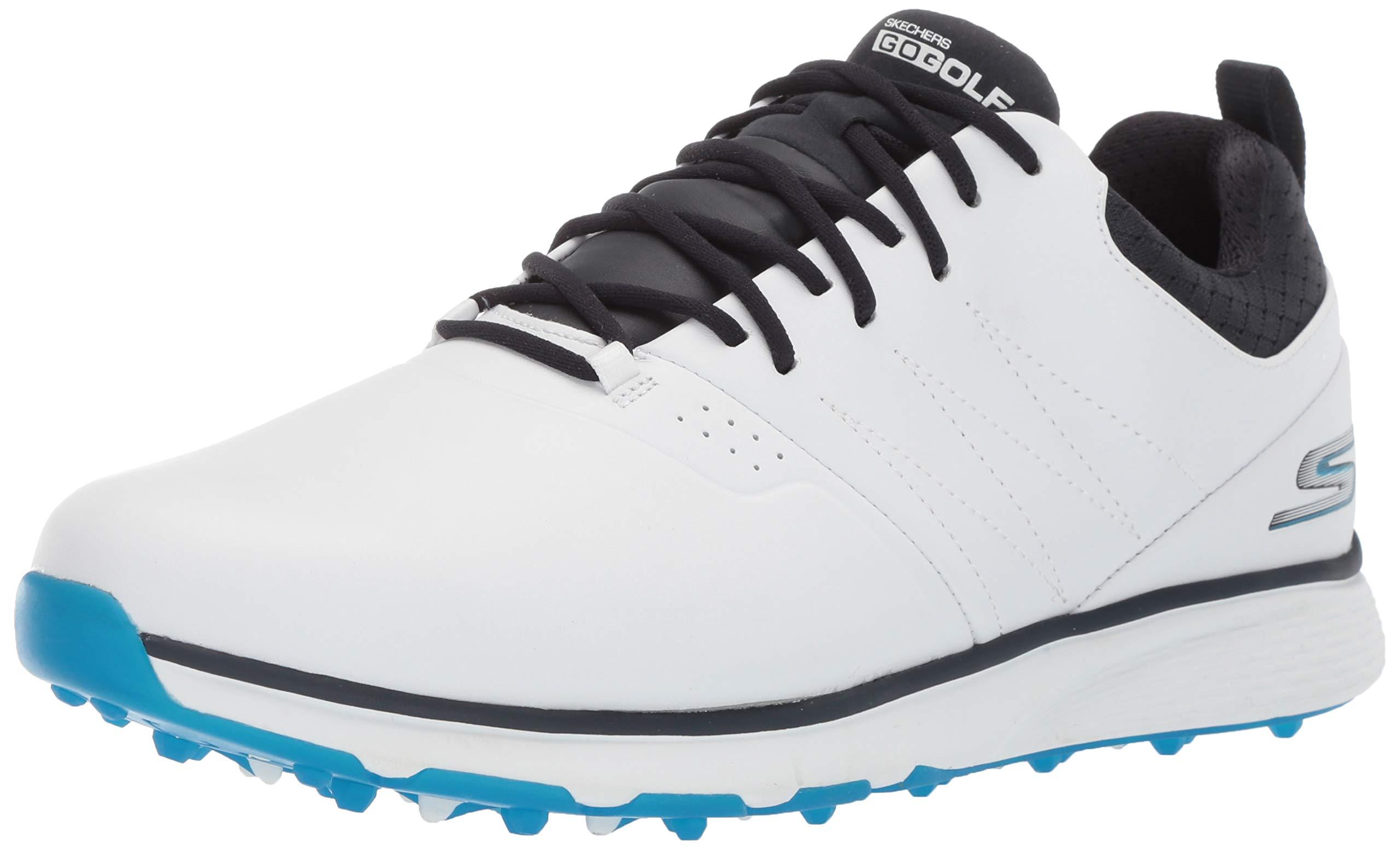 Skechers Men's Mojo Waterproof Golf Shoe, White/Blue, 13 M US by Skechers