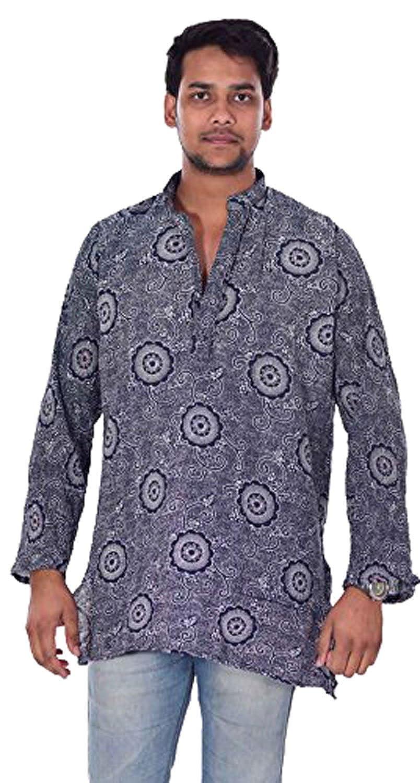 Lakkar Havali Indian 100/% Cotton Mens Kurta Shirt Tunic Loose Fit Plus Size Floral Print Blue Color