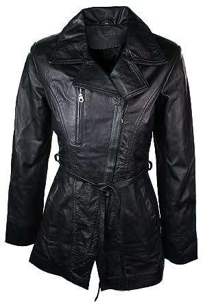 Veste en cuir noir pour femme