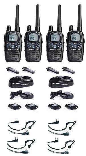 Midland 4 unidades - Walkie-Talkie maletín G7 Pro Plus con auriculares Juego de radio dispositivo móvil inalámbricos: Amazon.es: Deportes y aire libre
