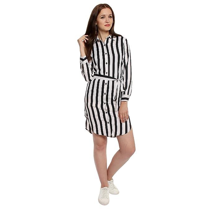 810ea17bbc4ce8 Lady Stark Women s Western Shirt Collar Long Sleeve Crepe Dress (White