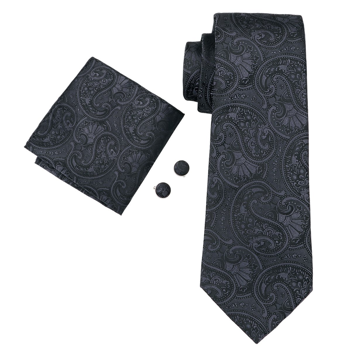 Hi-Tie Mens Stylish Black Paisley Solid Floral Silk Tie Hanky Cufflinks set N-1564