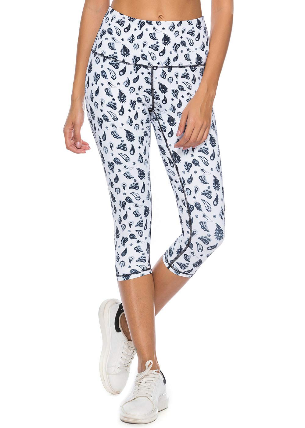 Mint Lilac Women's High Waist Workout Printed Yoga Leggings Athletic Capri Tummy Control Running Pants Small