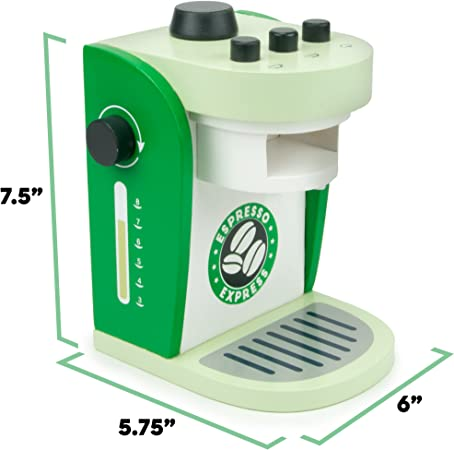 Imagination Generation Espresso Express Coffee Maker Playset, with 2 Cups, 2 Pods, 1 Portafilter, 1 Coffee Maker, Cream & Sugar (8 Pcs)