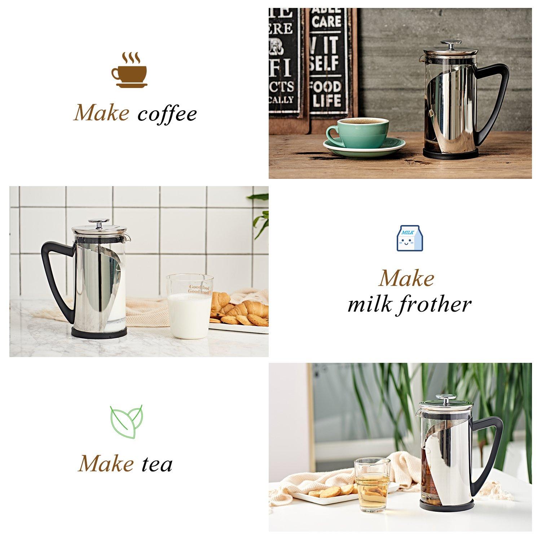 French Press Coffee Press 8 cup 34oz Heat Resistant Borosilicate Glass French Press Machine Suteas FP1000-FBA