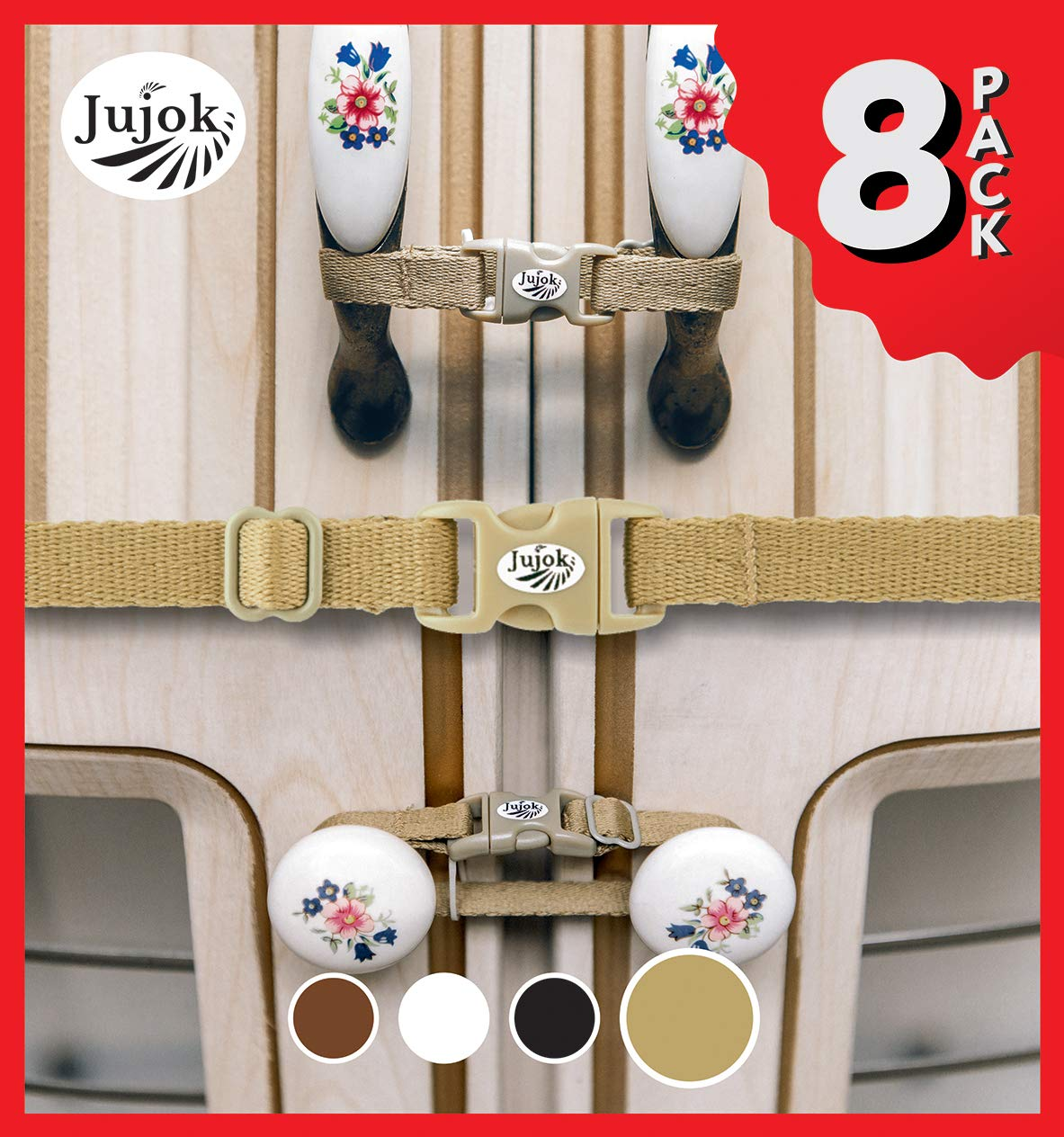 Jujok Child Safety Cabinet Locks (Gold Beige) J81gl