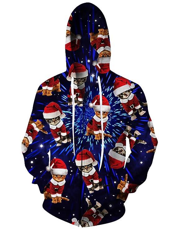 RAISEVERN Galaxy Nebula Zip Up Hoodie Christmas Sweaters Women Cute Cats