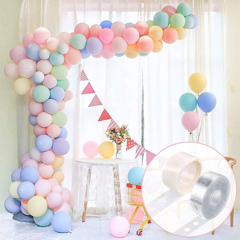FRETOD Pastel Party Globos 100 Piezas Pastel Latex Globos With15M Globos Chain, 100 Glue Dots Pastel Globos Kits para Boda,para Graduaciones, Fiestas, cumpleaños, día de San Valentín, Decoraciones