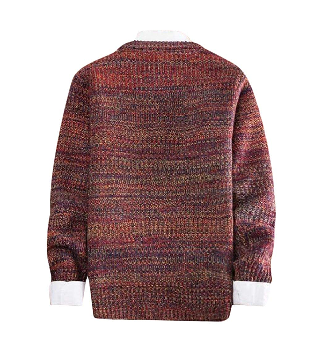 Highisa Mens Thickened Crew-Neck Knit Fall Winter Casual Fashion Sweater