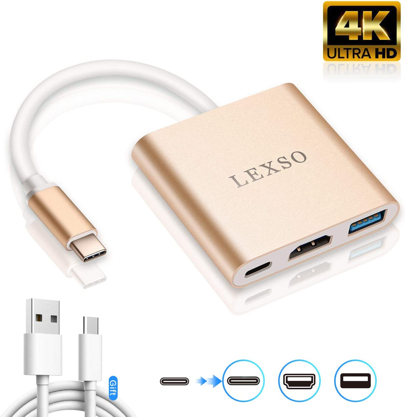 USB 3.1 Type C to HDMI 4K Multiport AV Converter with USB 3.0 Port and USB C Charging Port Compatible MacBook//Chromebook Pixel//Dell XPS13//Samsung Galaxy s8//s8 Plus USB-C to HDMI Adapter Silver