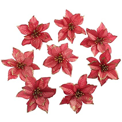 ourwarm 50pcs glitter poinsettia christmas tree ornaments artificial poinsettia flowers for christmas decorations gold