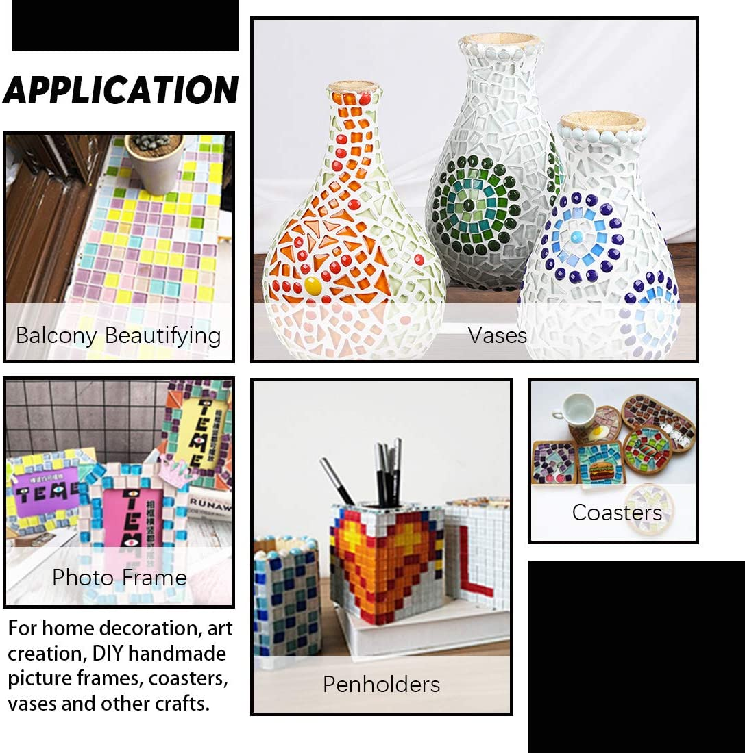 Flowerpots Picture Frames Mix Shape Hilitchi 1lb Assorted Stained Glass Mosaic Tile Mixed Shapes and Colors Glass Pieces for DIY Crafts Plates Handmade Jewelry and More