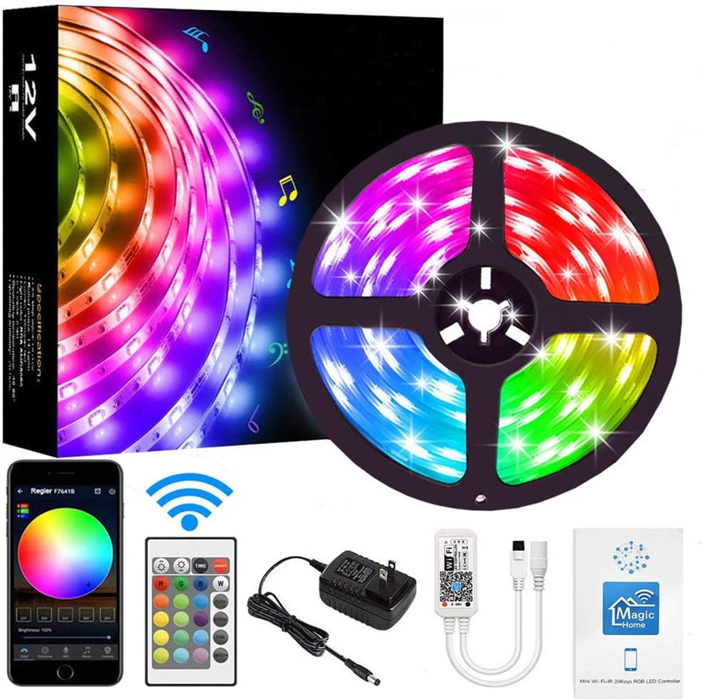 LED Strip Lights,WiFi 16.4ft 300LEDs Waterproof Color Changing Rope Lights Works with Alexa, Google Home Smart Phone App Controlled Music Sync RGB Light Strips for Room, Kitchen, and Party with Bright