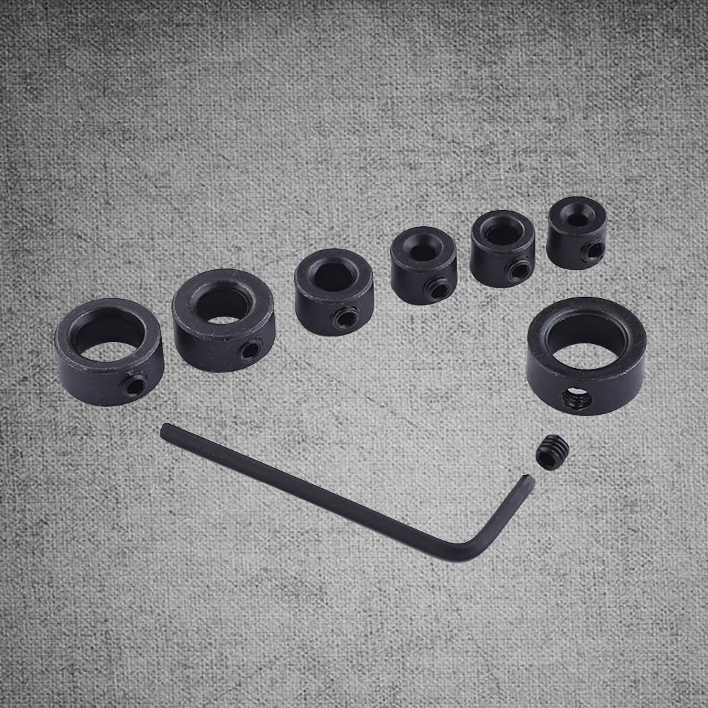 BESTOMZ 7 piezas Herramientas generales Instrumentos Anillo de l/ímite de bits 3-12mm Surtido de taladro de parada con llave peque/ña para brocas Perforaci/ón constante
