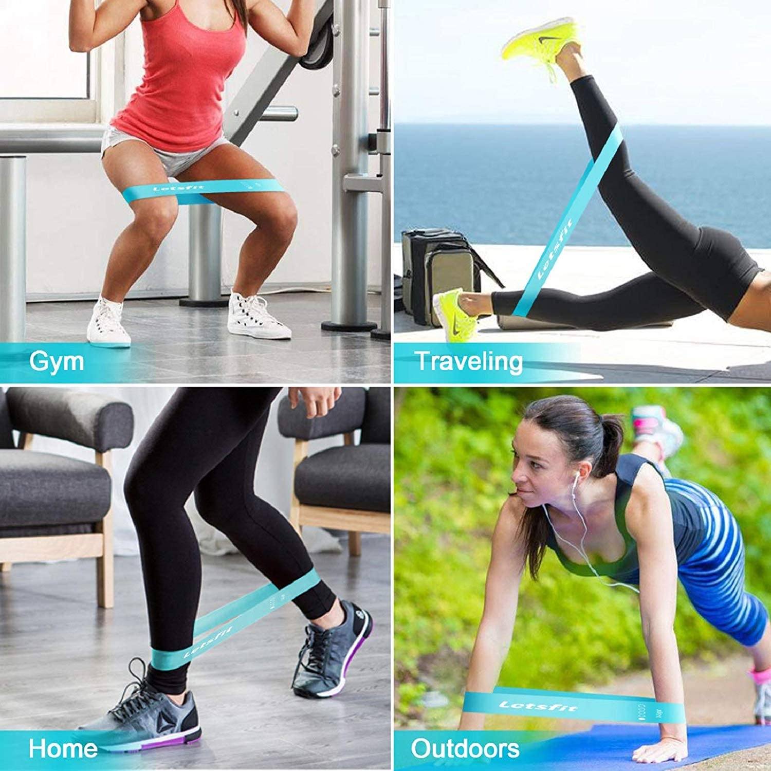 Letsfit Resistance Loop Exercise Bands with Instruction Guide and Carry Bag, Set of 5