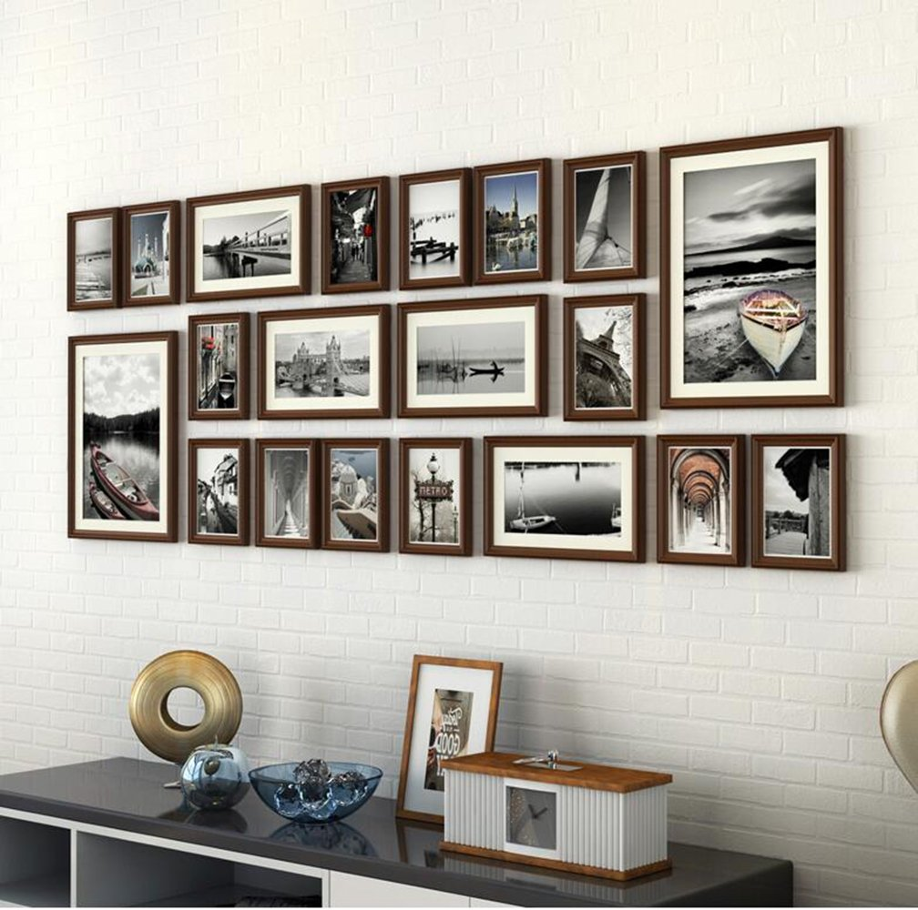 Tophome 壁掛けフォトフレーム DIY 写真立て 写真用額縁 ウォール フォトデコレーション  木製 20個セット 複数枚 部屋 インテリア 壁飾り 家族の思い出 (ブラウン2) B01NBRGXLEブラウン2