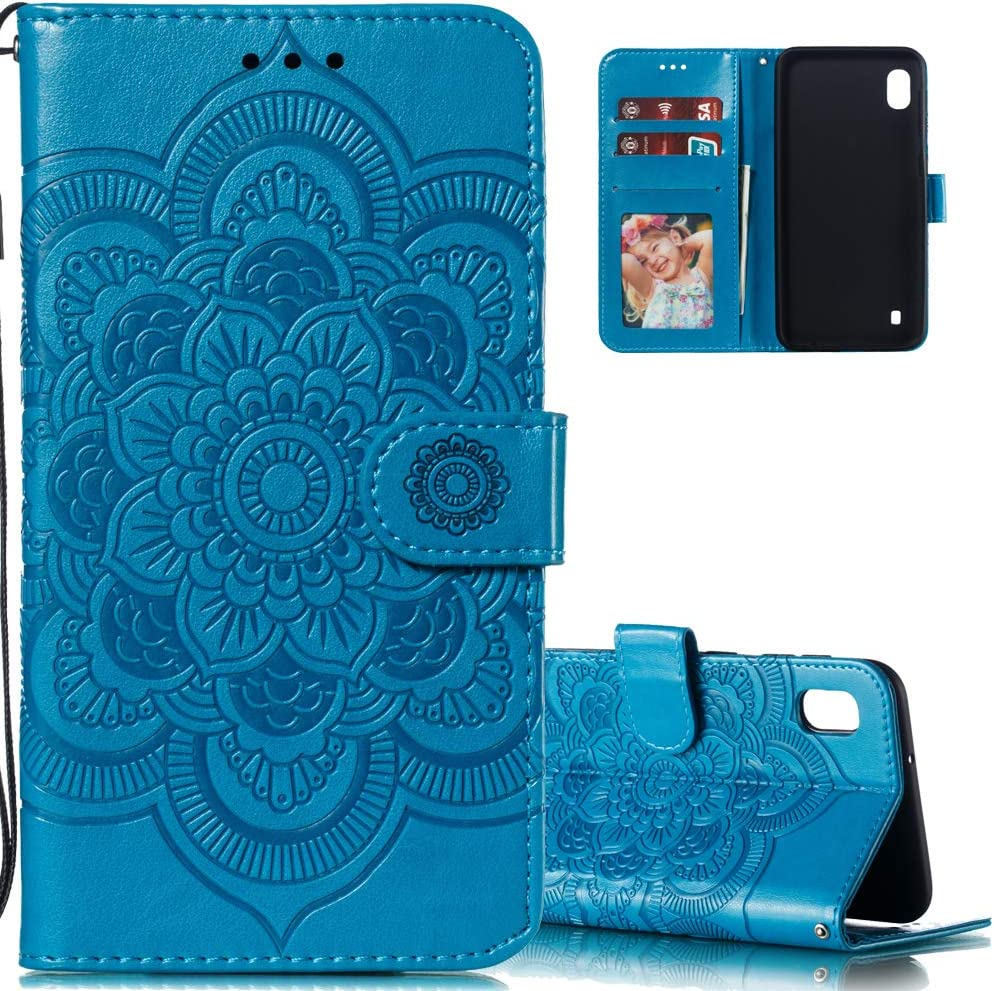 LEECOCO for Xiaomi Redmi 7A Case Mandala Embossing Luxury PU Leather Flip Notebook Wallet Bookstyle Magnetic Stand Card Slot Folio Bumper Protection Cover for Xiaomi Redmi 7A Mandala Blue LD