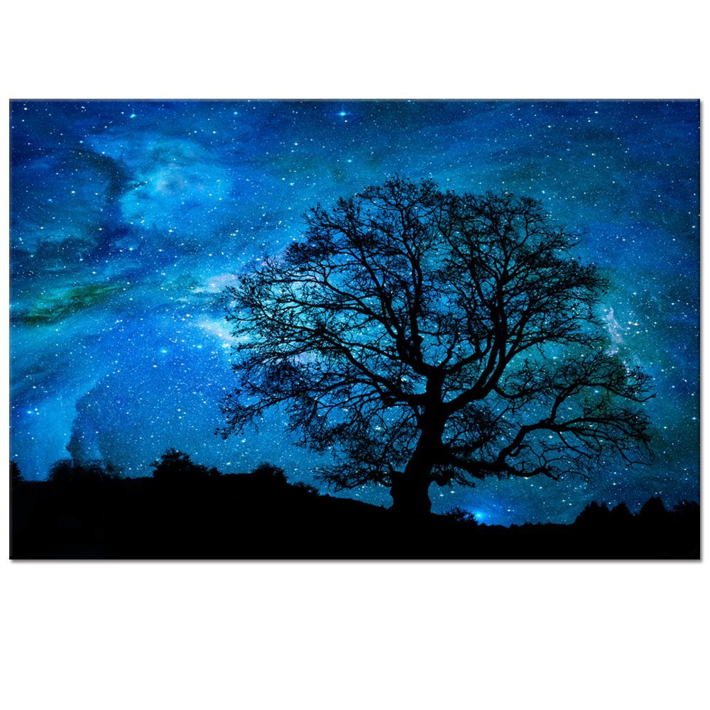 amazon com starry night canvas wall art black tree galaxy