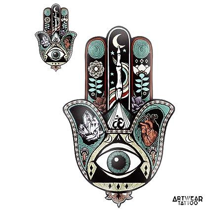 2 Tatouages Temporaires Main De Fatma Khomsa Artwear Tattoo
