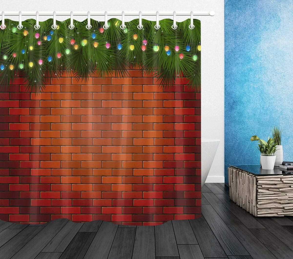 Tissu de Polyester Rideau de Douche et Crochets taquxinlaowan Sapin de No/ël Mur de Briques