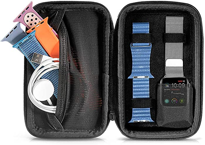 tomtoc Travel Carrying Case for Apple Watch SE Series 6/ 5 / 4 / 3, Compatible with 5 Bands & Cable & Accessories, Portable Protective Storage for iWatch 40 and 44mm