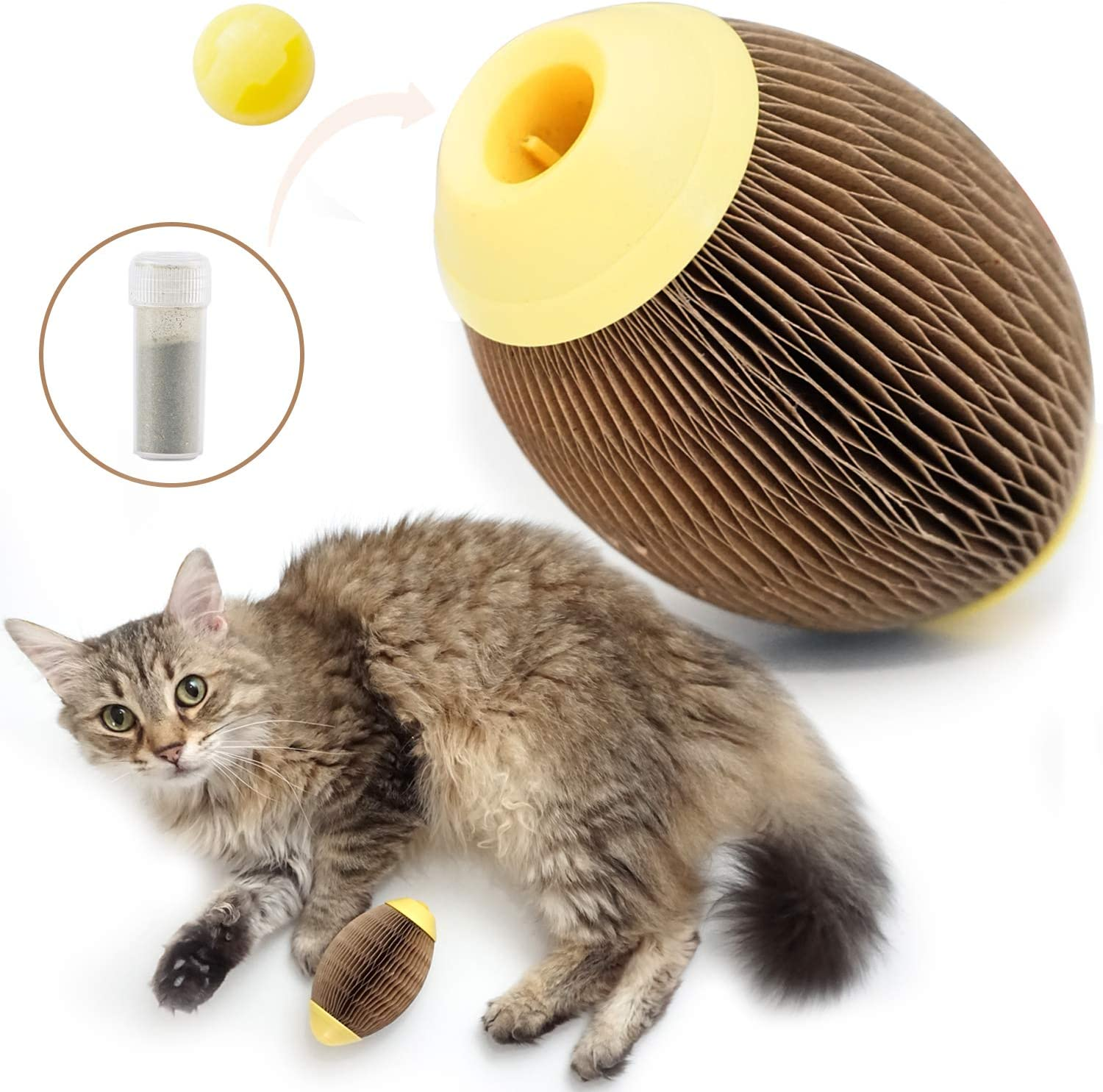 ARELLA Catnip Football Toy for Cats Catnip Refillable Scratcher Ball Kitty's Faithful Playmate Reduce Obesity and Loneliness CSB06BR