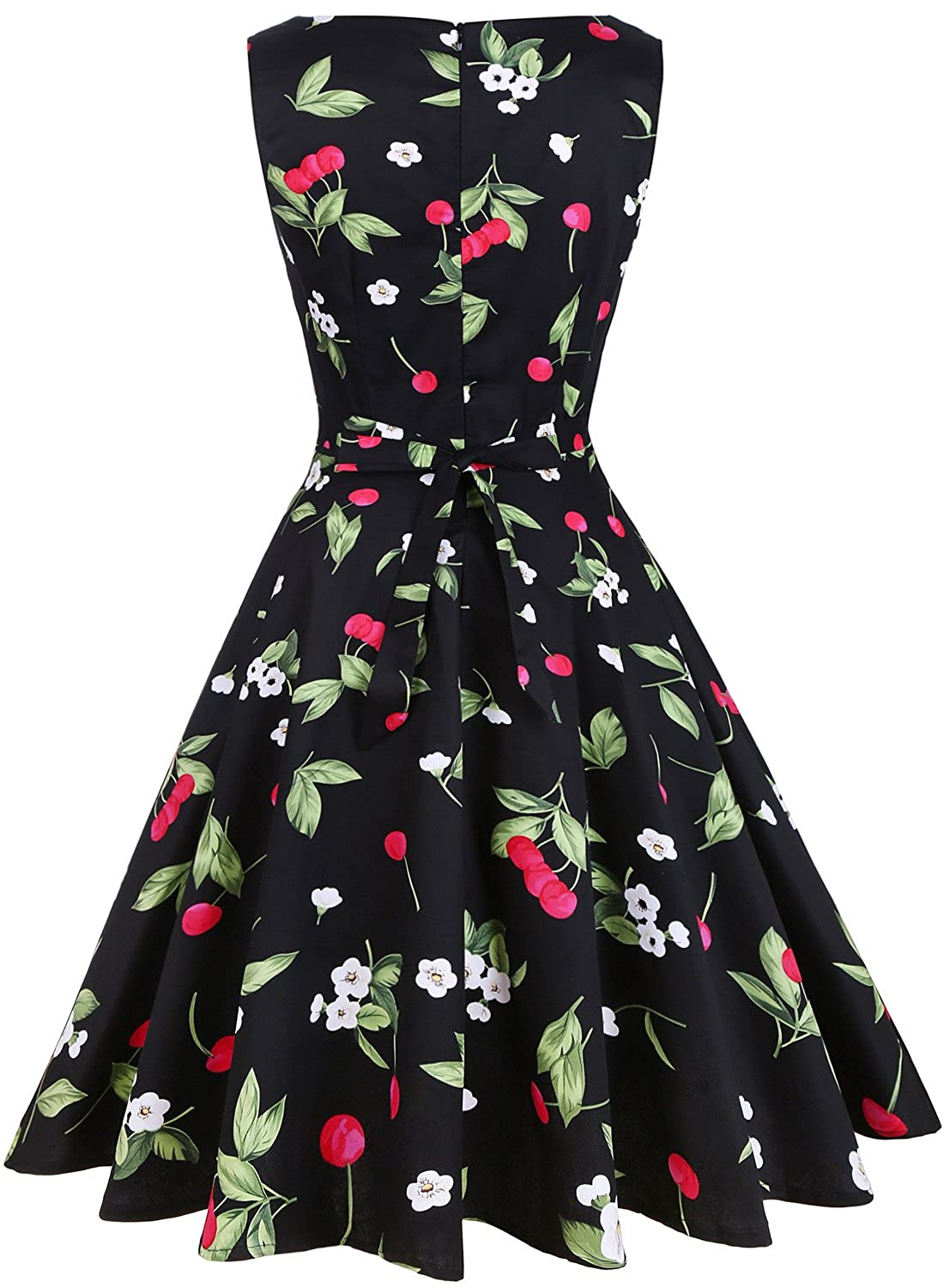edd5c1010f0 OTEN Women s Vintage 1950s Tea Dress Floral Spring Garden Party Rockabilly  Cocktail Swing Dresses at Amazon Women s Clothing store