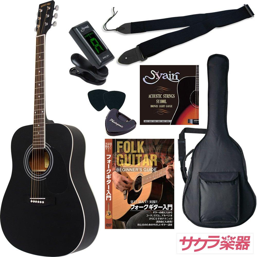 HONEY BEE アコースティックギター W-15M/BK 限定マットフィニッシュモデル 初心者入門リミテッドチューナーセット[クリップチューナー] B00GN6QFOA 限定マットフィニッシュBK/クリップチューナー